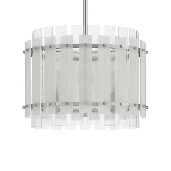 """Park Harbor PHPL5504 Brushed Nickel Sea Glass 9"""" Wide 1-Light Mini Pendant with Frosted Seeded Glass Panels - Brushed nickel"""