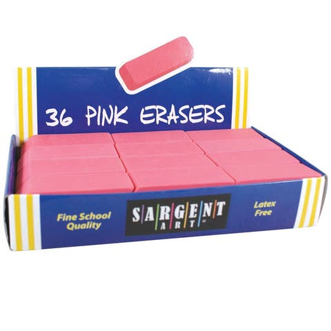 Sargent art 36ct large pink eraser pack 361012