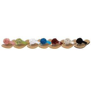 Toddler Girls Pom Pom Flip Flop Flat Sandal Shoes Size 7-4