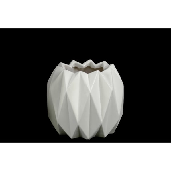 Geometric Patterned Ceramic Vase With Uneven Lip, Short, Matte White