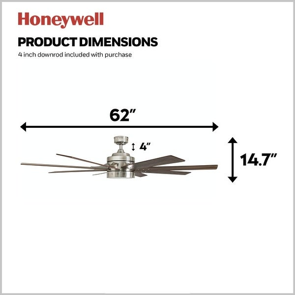 Honeywell Xerxes Brushed Nickel LED Remote Control Ceiling Fan, 8 Blade, Integrated Light - 62-inch