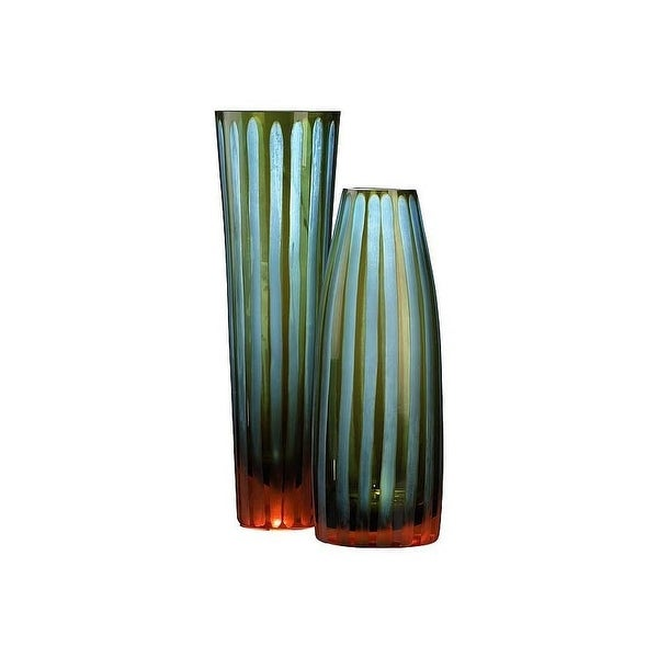 Cyan Design 1129 105 Small Cyan And Orange Striped Vase Free