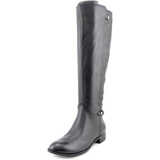Anne Klein Kacey Wide Calf Women Round Toe Leather Black Knee High Boot