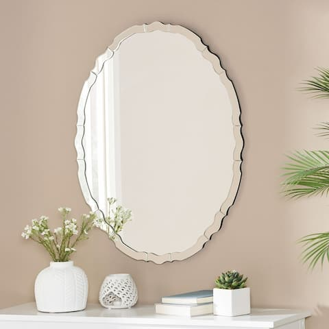 "Massey Modern Glam Oval Wall Mirror by Christopher Knight Home - 23.50"" H x 31.50"" W x 0.60"" D"