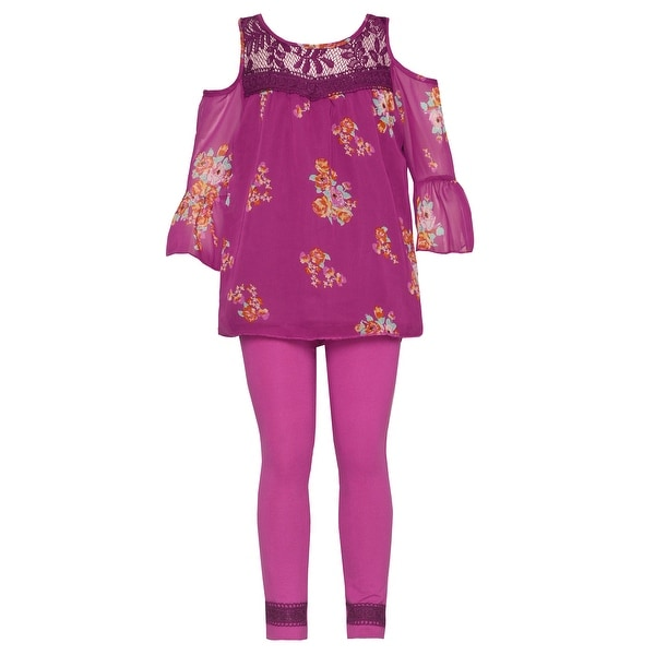 Little Girls Burgundy Floral Print Cold Shoulder 2 Pc Legging Outfit