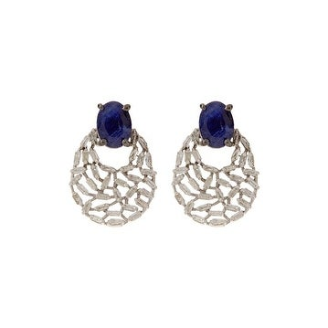 Blue Sapphire Baguette Stud Earring in 925 Sterling Silver with push back