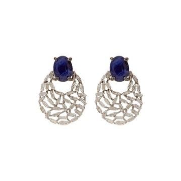 Blue Sapphire Baguette Stud Earring in 925 Sterling Silver
