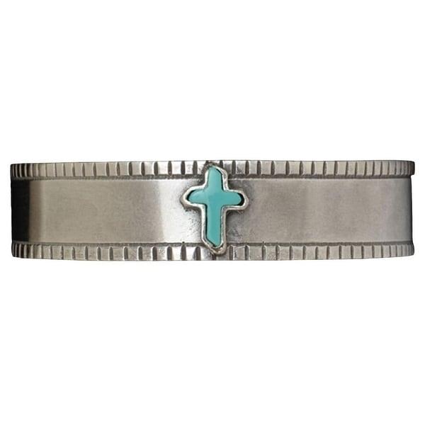 LoulaBelle Western Jewelry Women Bracelet Cross Inlay Silver LLB5606TQ - silver turquoise