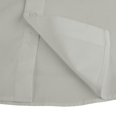 Roman Giardino Men's Dress Shirt Long Sleeve Convertible Cuffs The Italian Collar Cotton With Free Cuff Links Grey
