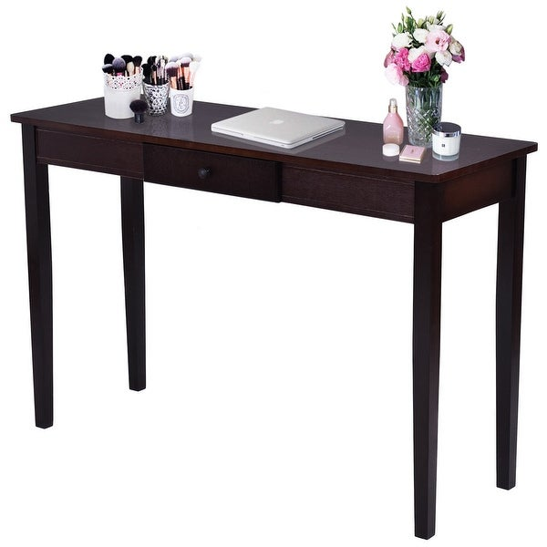 shop costway console table entry hallway entryway side sofa accent table drawer wood dark. Black Bedroom Furniture Sets. Home Design Ideas