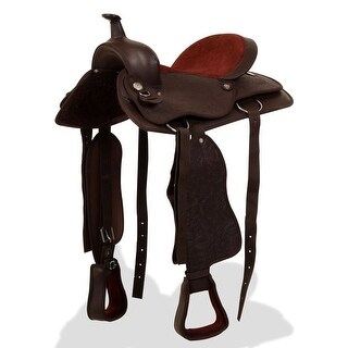 "vidaXL Western Saddle, Headstall&Breast Collar Real Leather 17"" Brown"