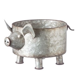 """Pack of 2 Gray and Brown Galvanized Finish Pig Pile Planters 7.25"""""""