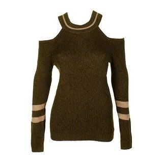 Inc International Concepts Green Gold Metallic Cold-Shoulder Sweater M