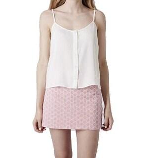 TopShop NEW White Women's Size 8 Button Down Cropped Tank Cami Top