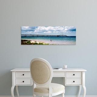 Easy Art Prints Panoramic Images's 'Bridge across a lake, Mackinac Bridge, Mackinaw City, Michigan, USA' Canvas Art