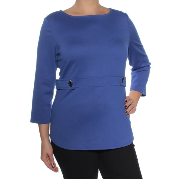 37214732a8a Shop Womens Blue 3/4 Sleeve Jewel Neck Wear To Work Top Size L - On ...