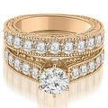 2.90 cttw. 14K Rose Gold Antique Cathedral Round Cut Diamond Engagement Set,HI,SI1-2 - Thumbnail 0