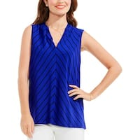 Vince Camuto Womens Casual Top Striped V-Neck