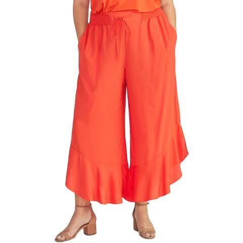 Rachel Rachel Roy Womens Plus Wide Leg Pants High Rise Cropped - Radiant Red - 1X