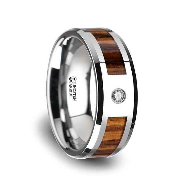 Saber Tungsten Carbide Diamond Ring With Beveled Edges And Real Zebra Wood Inlay