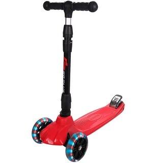 Goplus Folding 3 LED Light Up Wheel Kids Kick Scooter Adjustable Height For Boys Girls
