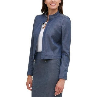 Link to Tommy Hilfiger Womens Open-Front Blazer Chambray Collar - Navy Multi Similar Items in Suits & Suit Separates
