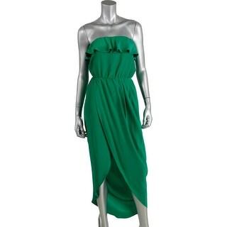 Amanda Uprichard Womens Petites Silk Tiered Maxi Dress