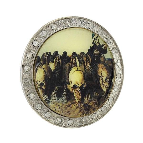 Creepy Skeletons Rhinestone Framed Belt Buckle Evil