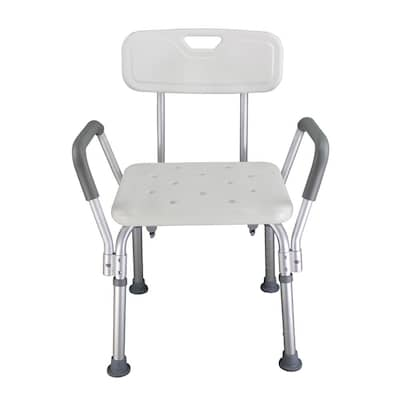 Aluminum Alloy Elderly Bath Chair with Backrest Shower Chair - White