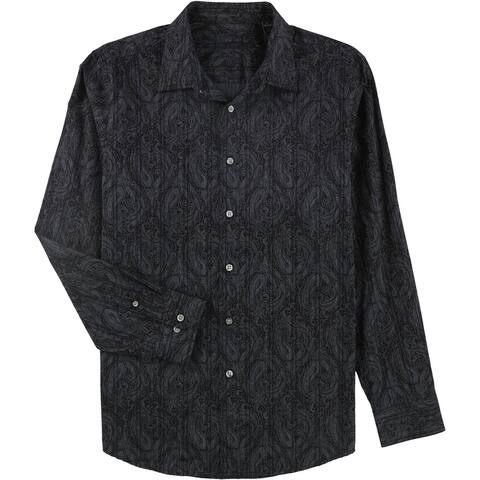 Tasso Elba Mens Reanult Paisley Button Up Shirt, Grey, Large