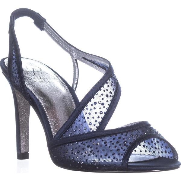 Adrianna Papell Andie Rhinestone Cross Strap Sandals, Midnight - 7 us / 37 eu