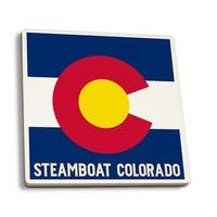 Steamboat, Colorado - State Flag - LP Artwork (Set of 4 Ceramic Coasters)