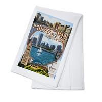 Milwaukee, Wisconsin - Montage Scenes - LP Artwork (100% Cotton Towel Absorbent)