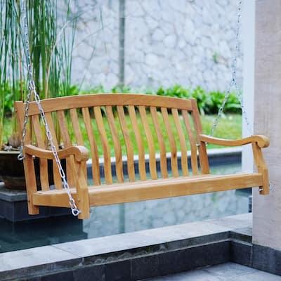 Cambridge Casual Sherwood Solid Teak Wood Porch Swing