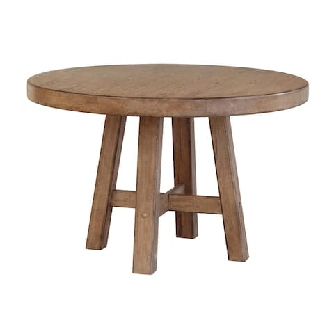 Distressed Blonde Finish Wood Round Table