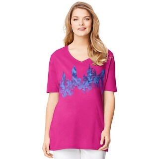 Just My Size Short-Sleeve V-Neck Women's Graphic Tee - City Garden Print
