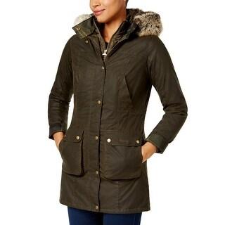 Barbour Helbsy Faux Fur Trim Wax Jacket Coat Olive