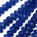 Dyed Jade Gemstone Beads, Faceted Rondelles 2x4mm, 15 Inch Strand, Deep Blue - Thumbnail 0