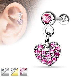 CZ Paved Heart Dangle on Crystal Set 4mm Ball 316L Surgical Steel Cartilage/Tragus Barbell (Sold Ind.)