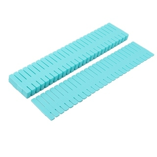 Home Plastic Adjustable Separator Grid Tidy Long Drawer Dividers Blue 8 Pcs