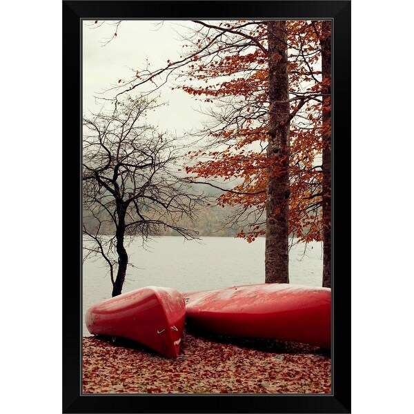 """""""Red canoes park fallen leaves by the lake"""" Black Framed Print"""