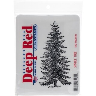 """Deep Red Cling Stamp 2""""X4""""-Spruce Tree"""