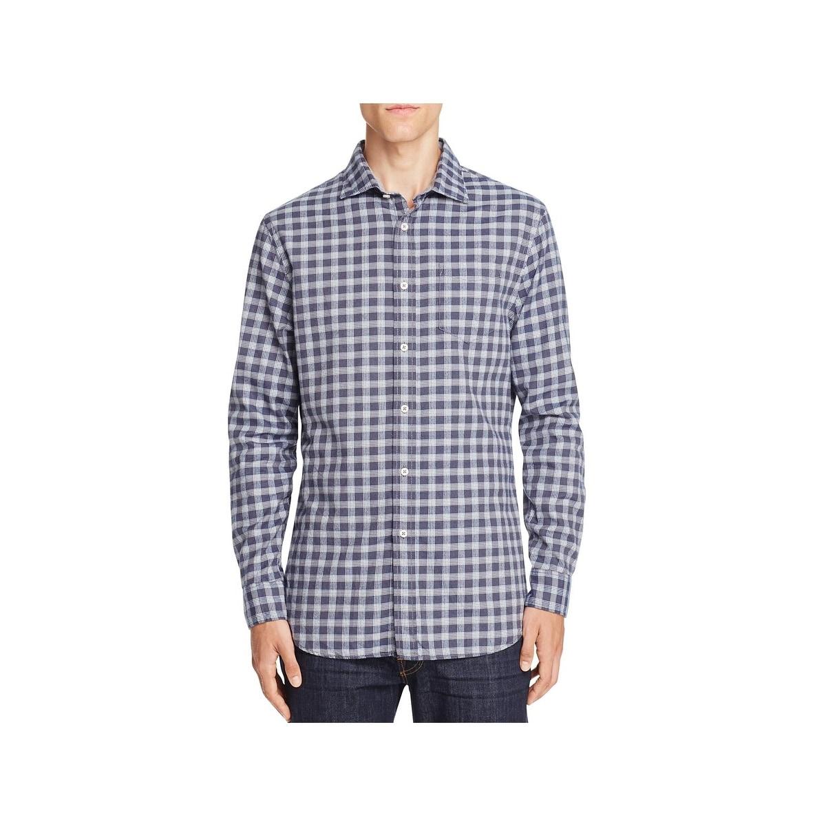 MOUTEN Mens Long Sleeve Casual Fleece Lined Slim Printed Button Down Dress Work Shirt