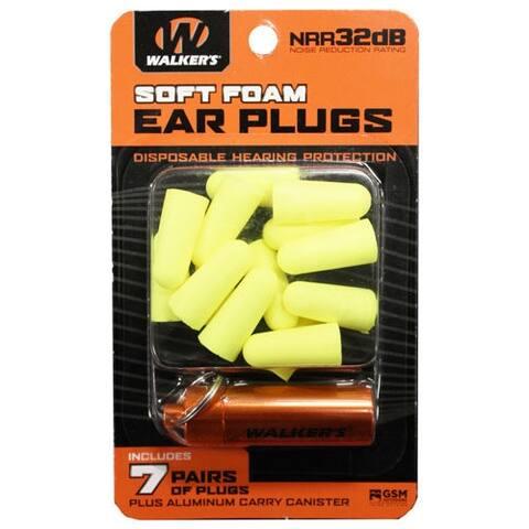 Walkers gwpplgcanyl walkers ear plugs soft foam 32db 7-pair w/carry case ylw