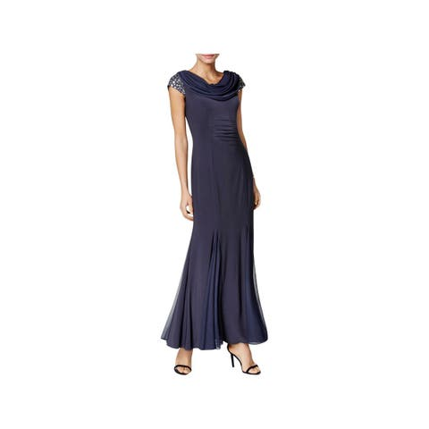 Alex Evenings Womens Evening Dress Cap Sleeves Full-Length