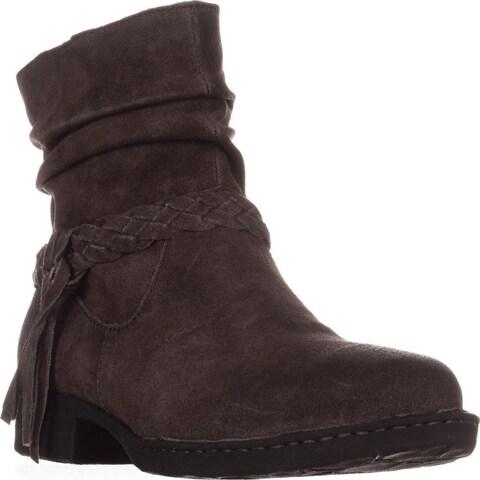 Born Abernath Braided Cross Strap Ankle Boots, Grey Distressed