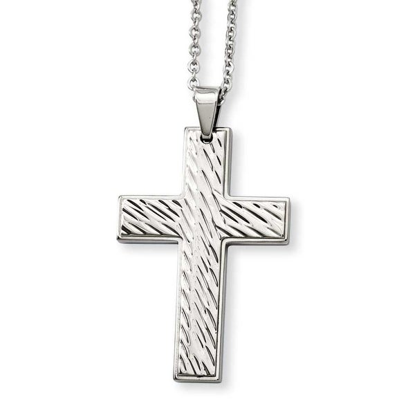 Stainless Steel Textured Cross Pendant 24in Necklace (2 mm) - 24 in