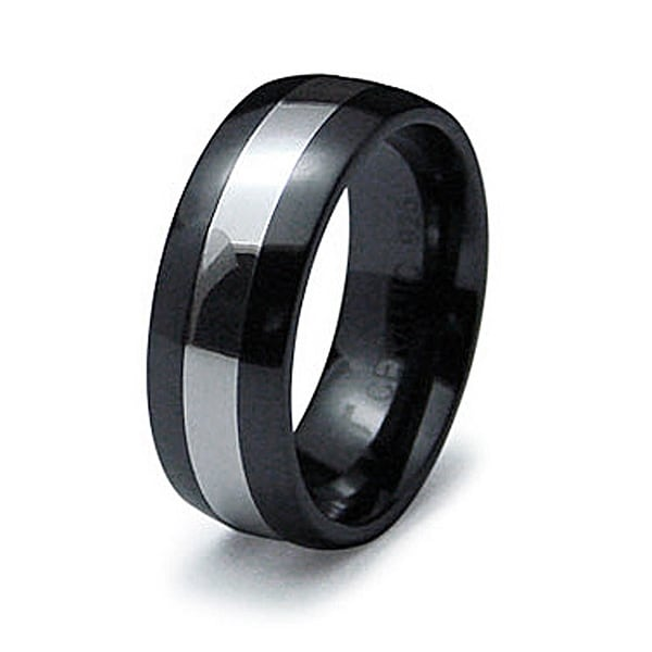 8mm Black Ceramic Ring with Silver Inlay (Sizes 9-12)