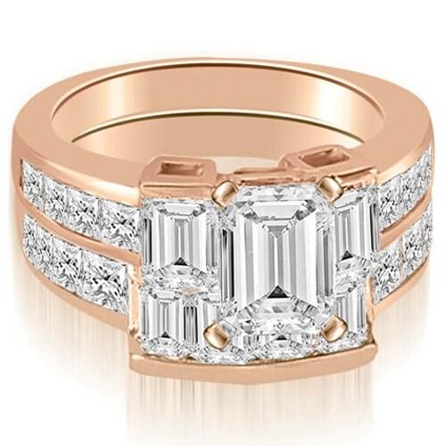 3.80 cttw. 14K Rose Gold Channel Diamond Princess and Emerald Cut Bridal Set