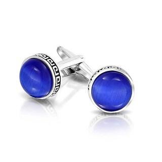 Bling Jewelry Rhodium Plated Mens Round Blue Glass Cabachon Greek Key Cufflinks